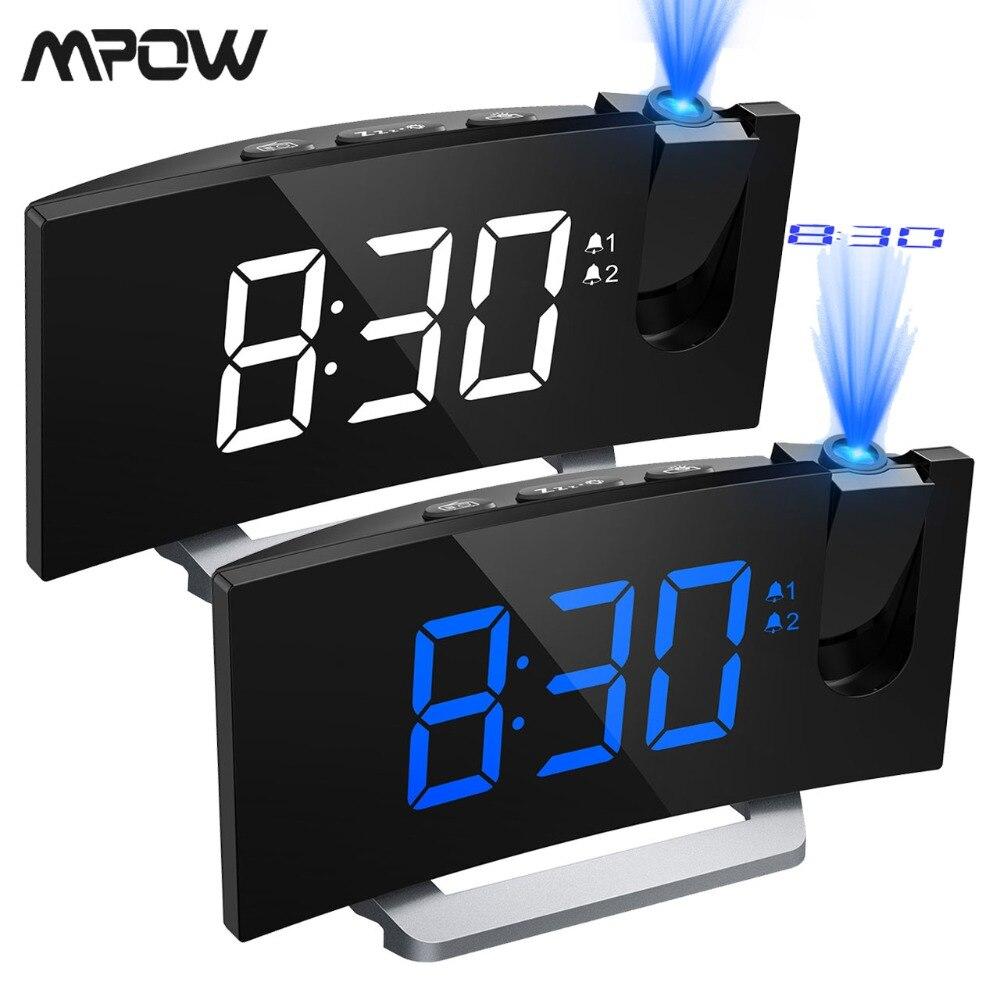 MPOW LED FM De Projection 2 Alarmes Horloge Multifonctionnel 5-pouces Écran Incurvé 5 Niveaux Affichage Luminosité 4 Réglable D'alarme sons