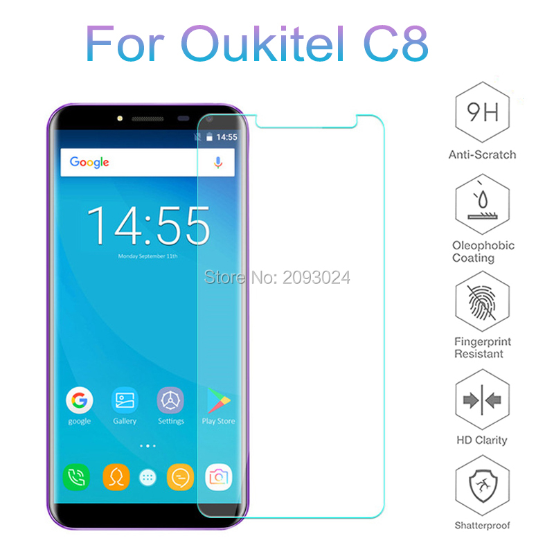 For Oukitel C8 Tempered Glass Original Premium 9H 2.5D Screen Protector Film For Oukitel C8 5.5 Inch Protective Glass Guard