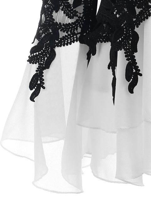 PlusMiss Plus Size 5XL Sexy Bell Flare Sleeve Chiffon Tunic Tops Lace Crochet Peplum Blouse Women Clothing Big Size Autumn 2018 3