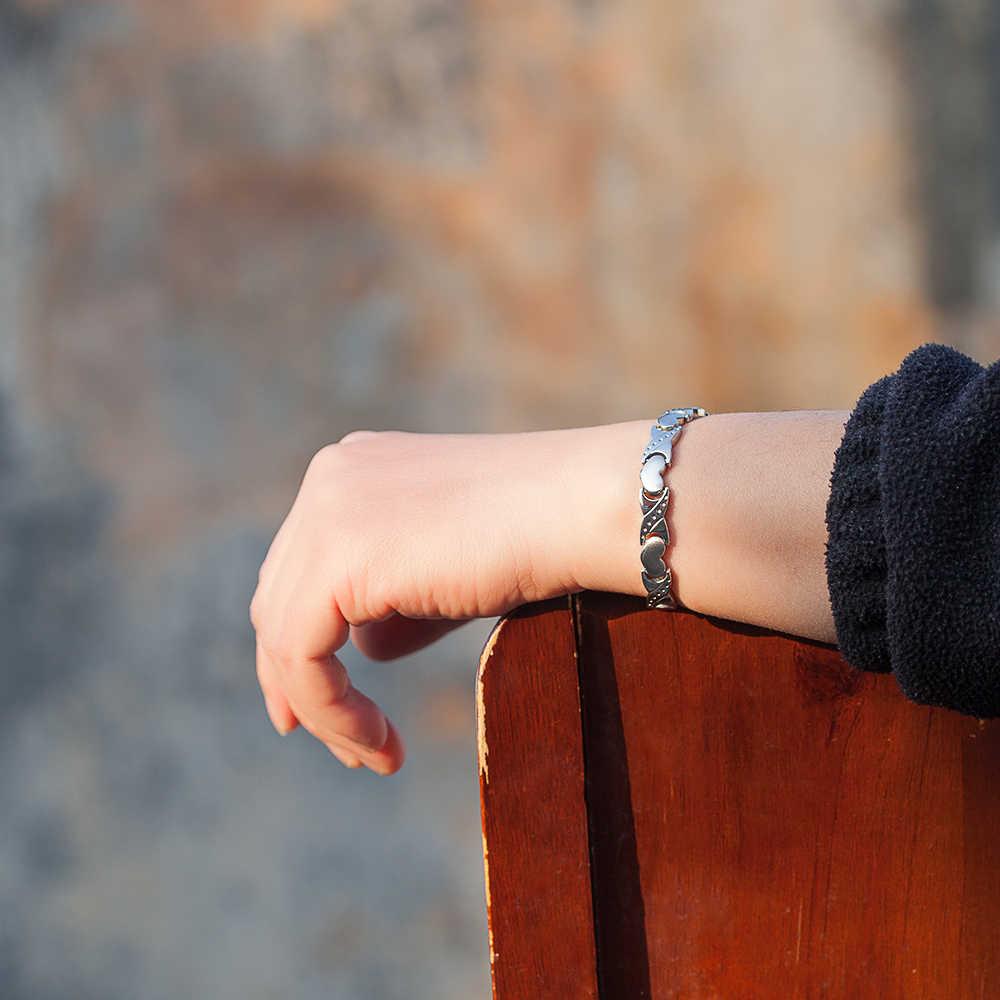 Vinterly bransoletki magnetyczne dla damski łańcuszek serce krzyż stali nierdzewnej magnetyczne bransoletki Femme germanu magnes zdrowie bransoletka energetyczna