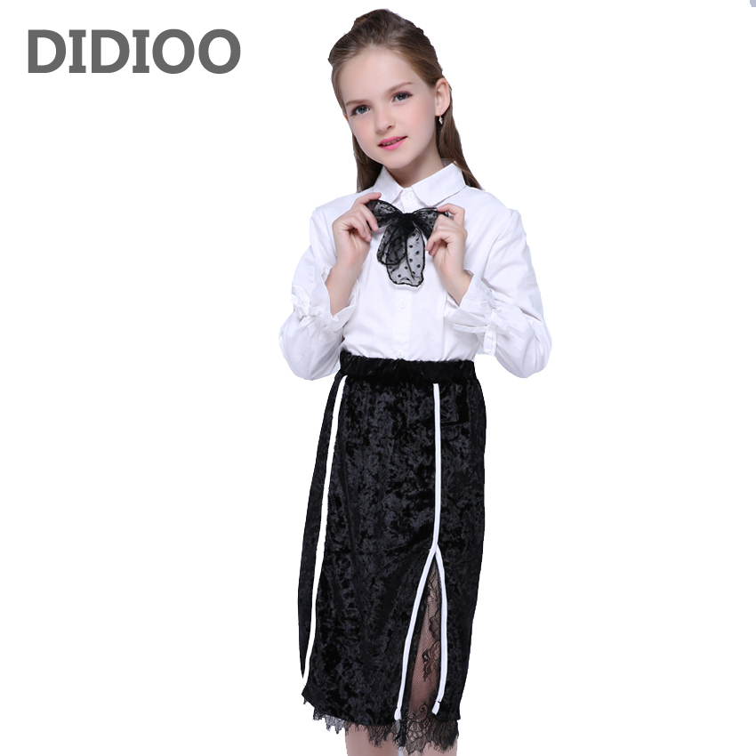 Girls Outfits for Kids Shirts & Lace Skirts Suits Girls Child Long Sleeve Blouses Black Skirts Clothes Sets Infant Clothing Sets