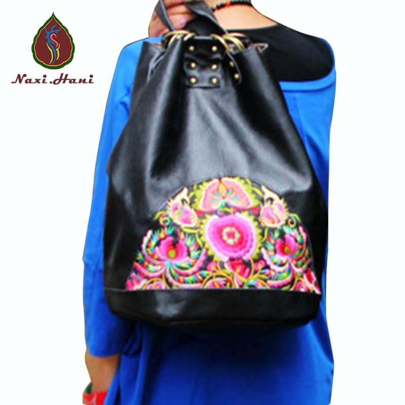 Naxi.Hani Brand designer black embroidery drawstring bucket women backpack Vintage fashion genuine leather women travel bags