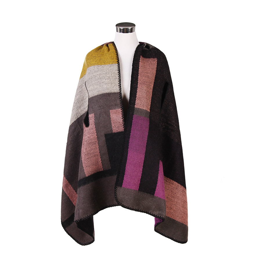 Women Winter Scarf Mixed Color Plaid Side Slit Sleeve Artificial Wool Blanket Scarves Shawl Poncho Wrap