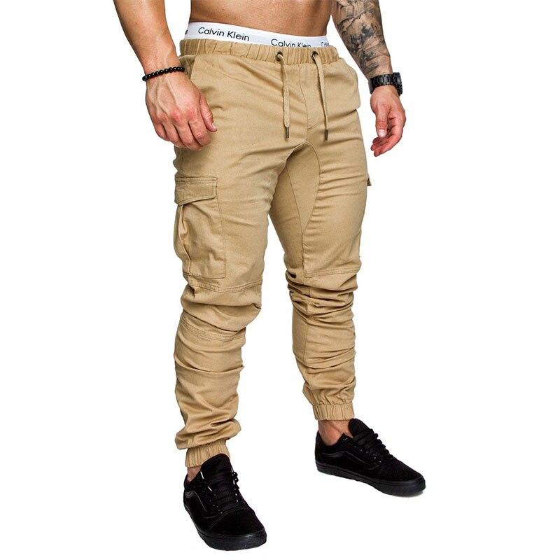 2018 dos homens da Marca Calças Hip Hop Harém Calças Masculinas Calças Dos Homens Corredores Corredores Sólidos Multi-bolso da Calça Elástica moletom cintura