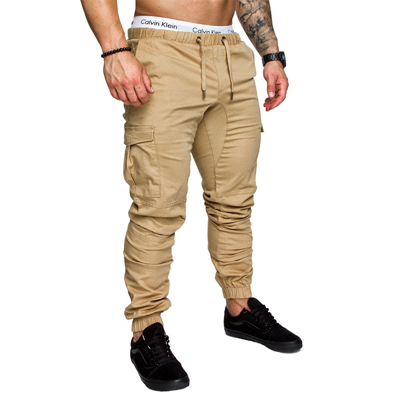 2018 pantalones de hombre de marca Hip Hop Harem Joggers pantalones de hombre Joggers sólidos Multi-Bolsillo pantalones de chándal de cintura elástica