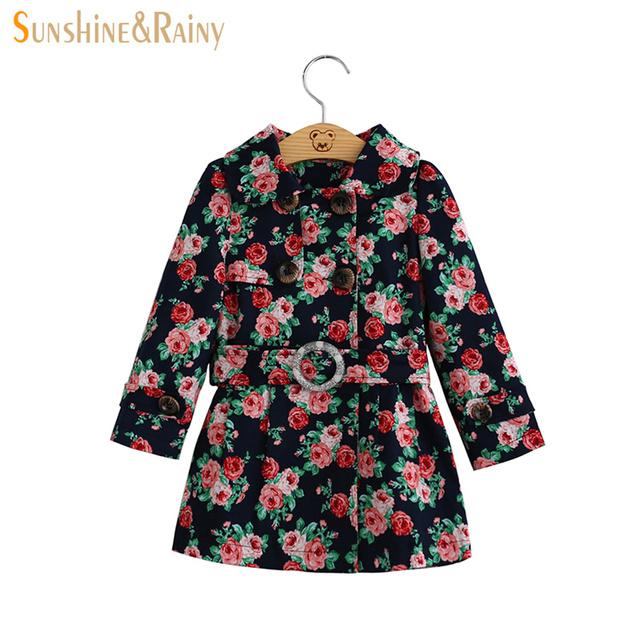 2017 Diseñador de la Marca Baby Girls Abrigos y Chaquetas de Primavera Niños Niñas Capa de Foso de prendas de Vestir Exteriores Floral Niños Rompevientos Chaqueta Larga