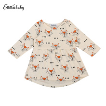 Toddler Cute Infant Baby Girls Dress Fille Jolie Princess Glasses Cartoon Printed Casual Party Long Sleeve Dresses Sundress