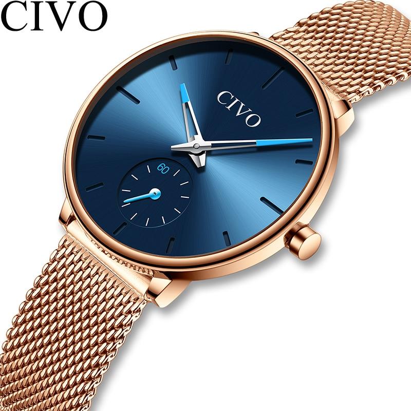 CIVO Watches Womens Top Brand Luxury Quartz Watch Ladies Waterproof Steel Mesh Strap Women's Bracelet Watches Clock Montre Femme