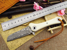 100% New Damascus  steel folding Outdoor knife utility Knife with camel bone handle