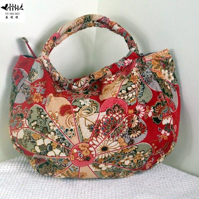 Unique Hobos Bohemian Bags Women Shoulder Handbags Bag Lady Vintage Red Flowers Cotton Canvas Handmade
