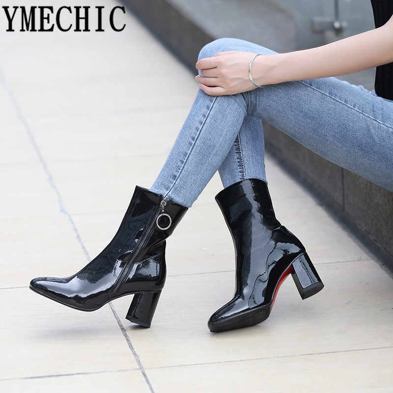 YMECHIC Red Black White Patent Pu Leather Woman Shoes Block High Heel Boots Female Booties Plus Size Crystal Ring Ankle Boots