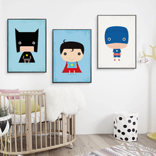 Bianche Wall Lovely Super Little Hero Cartoon Canvas Painting Art Print Poster Picture Mural Home Decoration, Decor