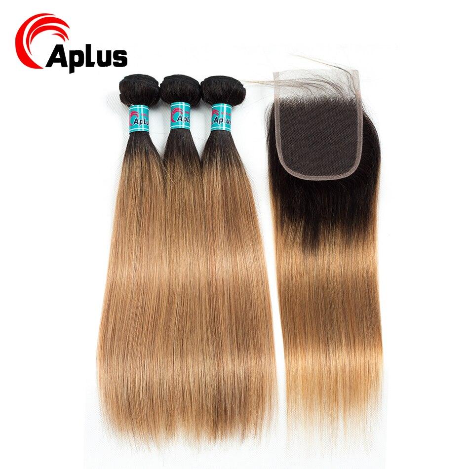 HTB1cBTPB4uTBuNkHFNRq6A9qpXaM Aplus Hair Peruvian Ombre Bundles With Closure Straight 1B/27 Honey Blonde Bundles With Closure NonRemy Human Hair Weave Closure