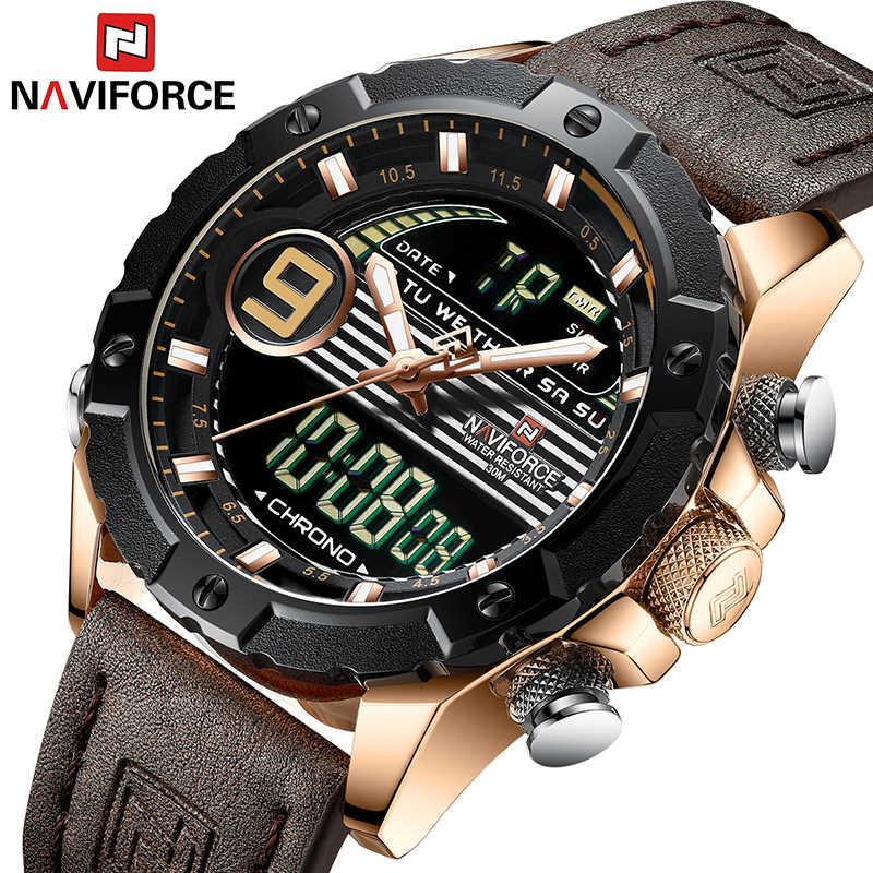 NAVIFORCE Reloj Hombre 2019 יד Mens שעונים למעלה מותג יוקרה אמיתי עור קוורץ שעון ספורט שעון זכר Relogios Masculino