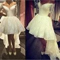 Princess White Lace High Low Homecoming Dresses Designer V-Neck Half Sleeve Short Prom Gowns Cheap Lace Party Dresses For Girls