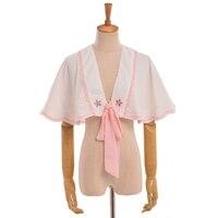 Sweet girls chiński rocznika sakura haft lolita dress biała krótka peleryna jesień ubrania z długim rękawem