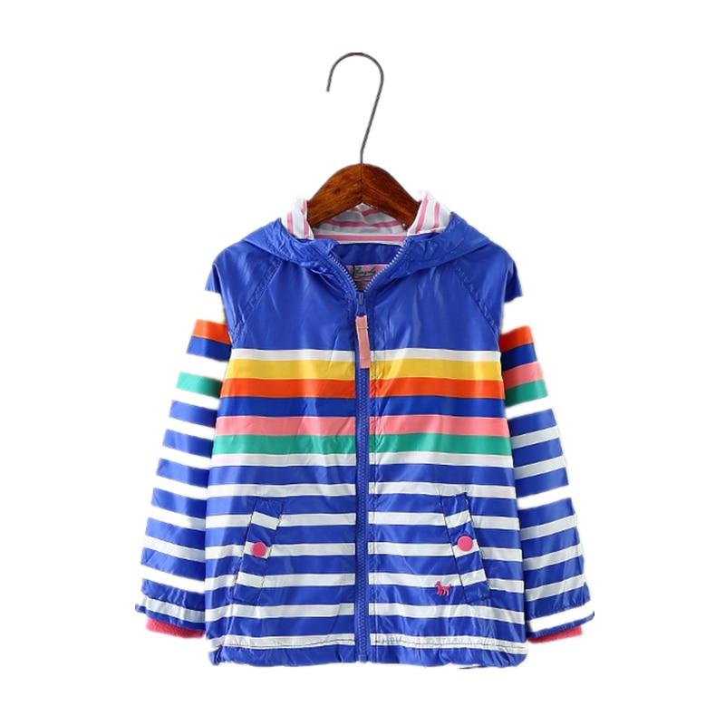 Осень Новинка; куртка для девочек и мальчиков дети радуги Цвет полосатый Костюмы детские пальто с капюшоном для ребенка От 3 до 8 лет ветровк...
