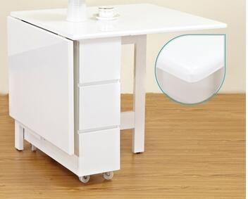 Fold table with drawer to receive simple dining table ...