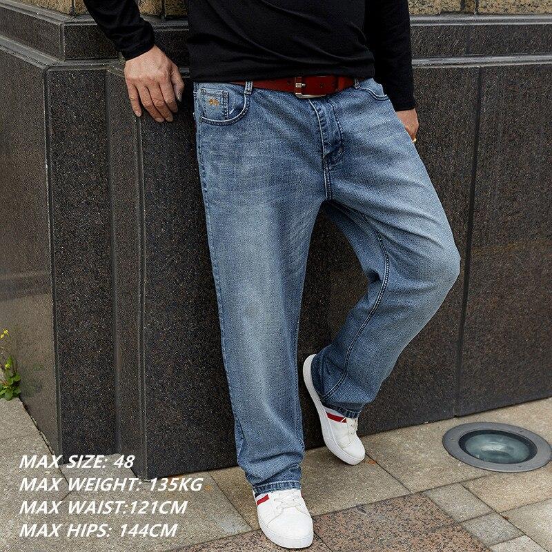 0e0c3a0e8be Pantalones vaqueros grandes azules de algodón de marca para hombre talla  grande 42 44 46 48 pantalones casuales para hombre holgado recto pantalón  vaquero