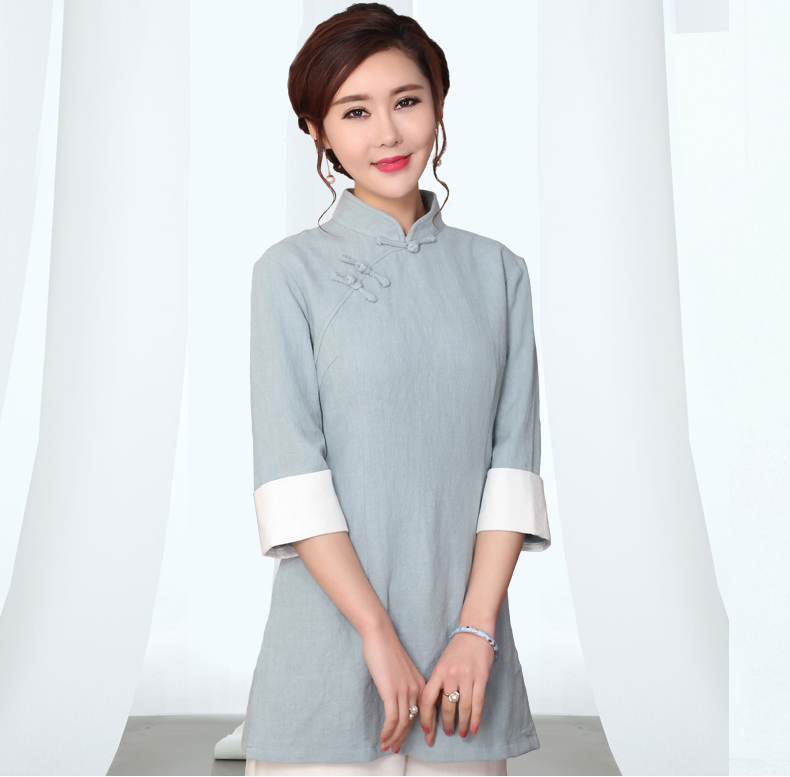 Long style women cotton linen shirt chinese mandarin for Long linen shirts for womens