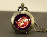 Steampunk Usa Movie The Flash Vintage Necklace 1pcs Lot Bronze Silver Glass Pendant Jewelry Best Friend