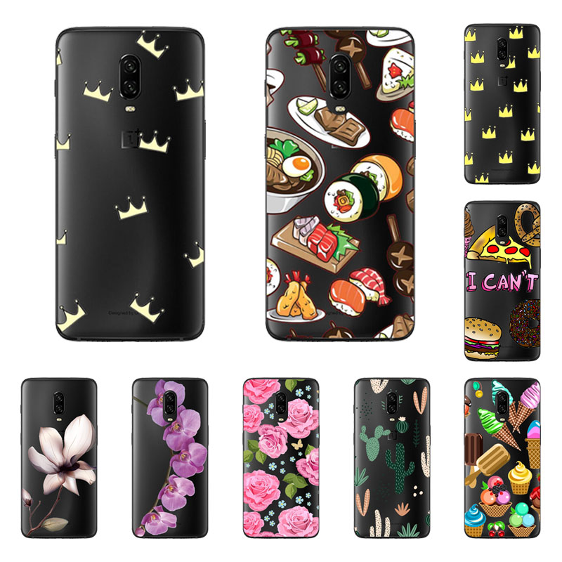 oneplus 6t Case,Silicon Black Painting flower Soft TPU Back Cover for one plus 6t protect Phone cases shell