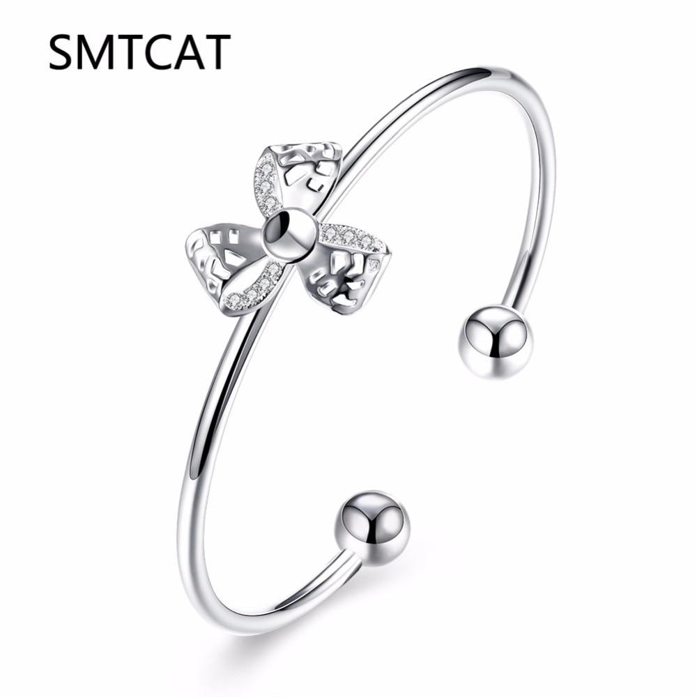 SMTCAT Butterfly Flower Design Fashion Jewelry Women Cuff Bracelets Cubic Zirconia Bracelets & Bangles Gifts For Her