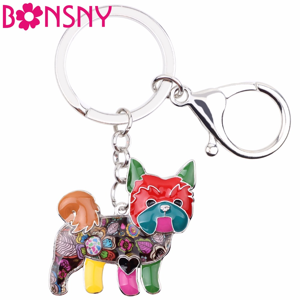 Bonsny Enamel Yorkie Yorkshire Dog Key Chain Key Ring 2017 New Jewelry For Women Bag Pendant Car Key Holder Keychain Accessories keychain holder key ring with vine bottle pendant 3pcs