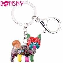 Bonsny эмалированный брелок для ключей в виде йоркширского терьера, собаки, новинка 2017, ювелирные изделия для женщин, подвеска для сумки, автом...
