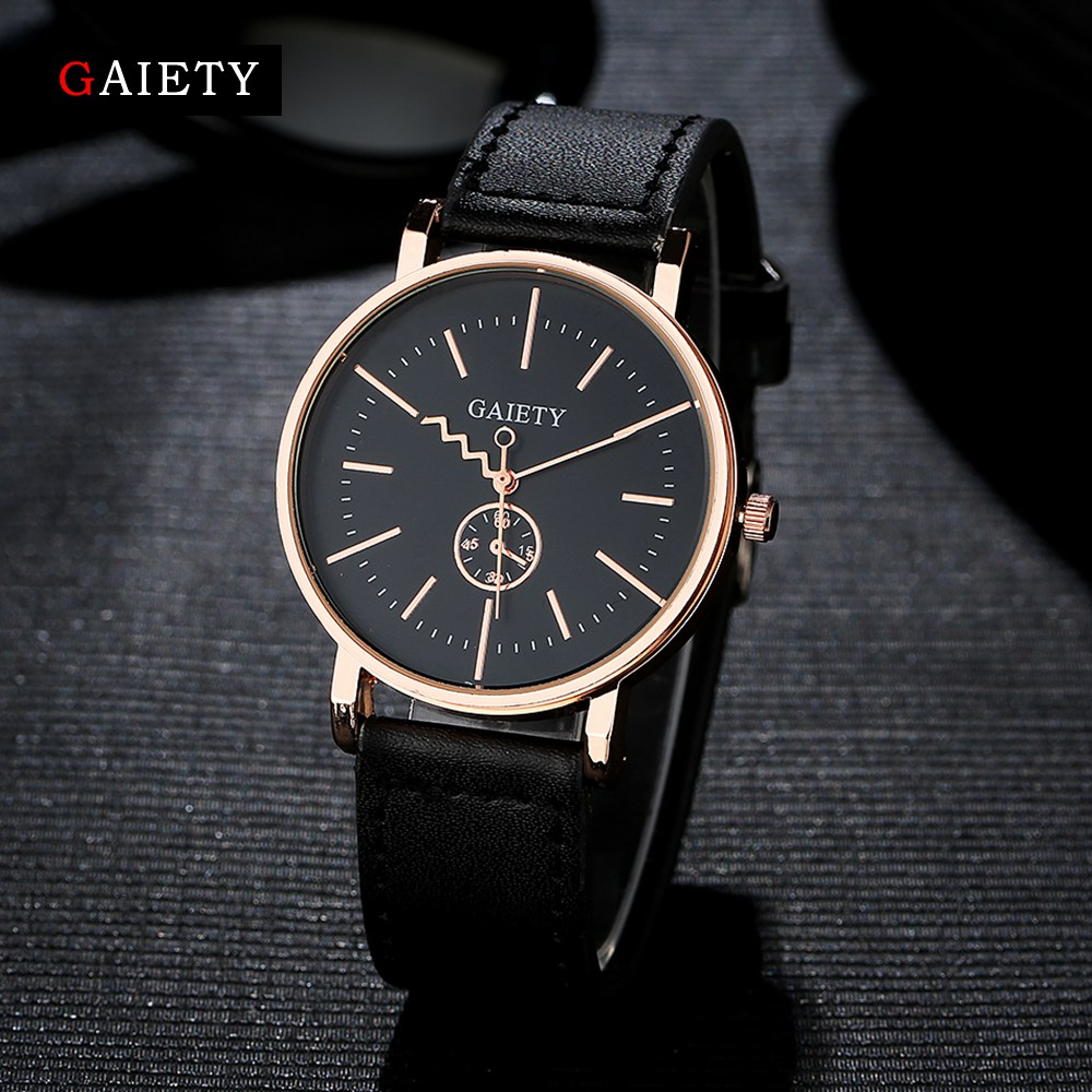 Gaiety Mens Watches Top Brand Luxury Rose Gold Leather Strap Watch Quartz Men Wristwatch Dial Sport Fashion Casual Watch G035 gaiety men s casual stripe dial leather band dress watch g538