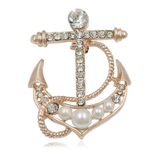 Baiduqiandu Brand Simulated Pearl And Crystal Rhinestones Anchor Brooch  Pins For Women Or Men(China