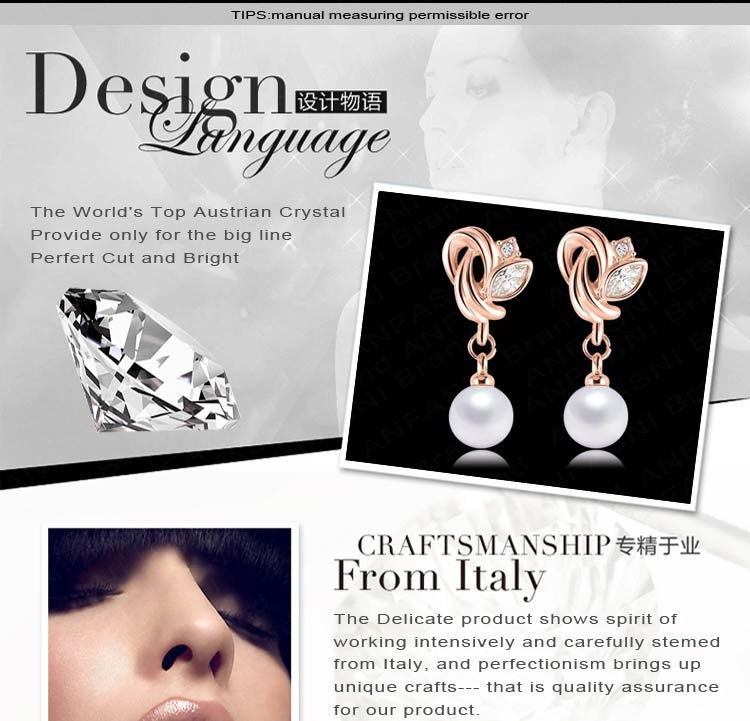 ANFASNI Pearl Earrings For Women Rose Golden Color SWA Stellux Burning Love Earrings Inlay Austrian Clear Crystal ER0193-A