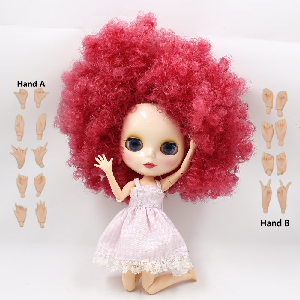Free shipping factory nude blyth doll big breast joint body nude doll bjd neo 1/6 doll, 30cm 300mmBLQE155 pink hair