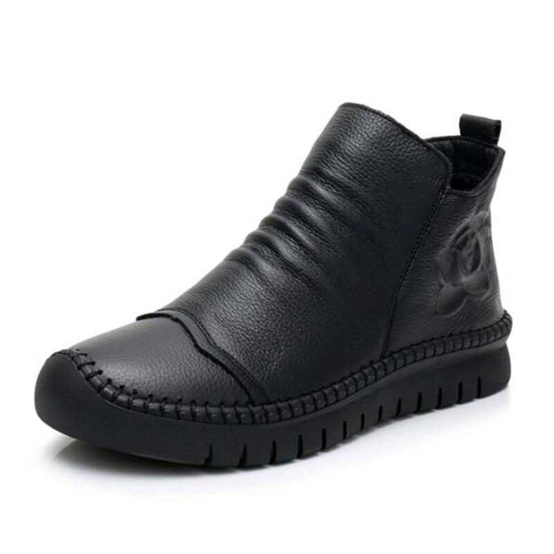 Femmes Noir Main Plates Cuir Automne pourpre Cheville Hiver Confort Marque En Nouveau Chaussures Vachette La À Antidérapantes 2018 De Bottes Zxryxgs HY1wqpa