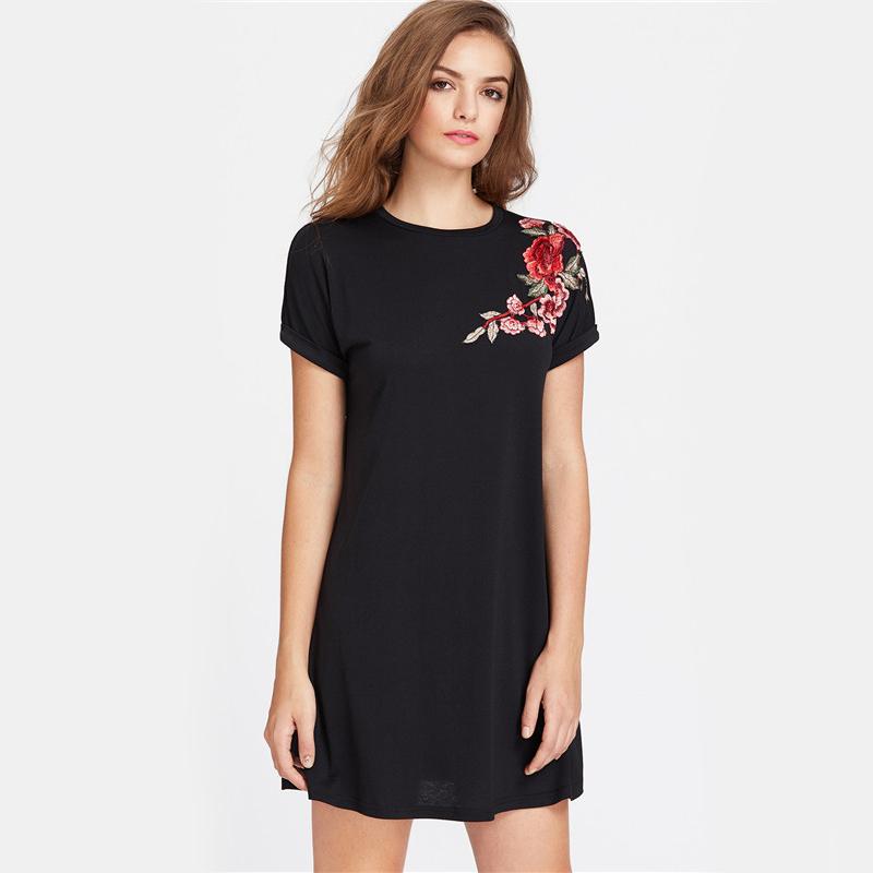 HTB1cBUUQVXXXXarapXXq6xXFXXX5 - Embroidered Dress Women Flower Patch Roll Cuff Swing PTC 193
