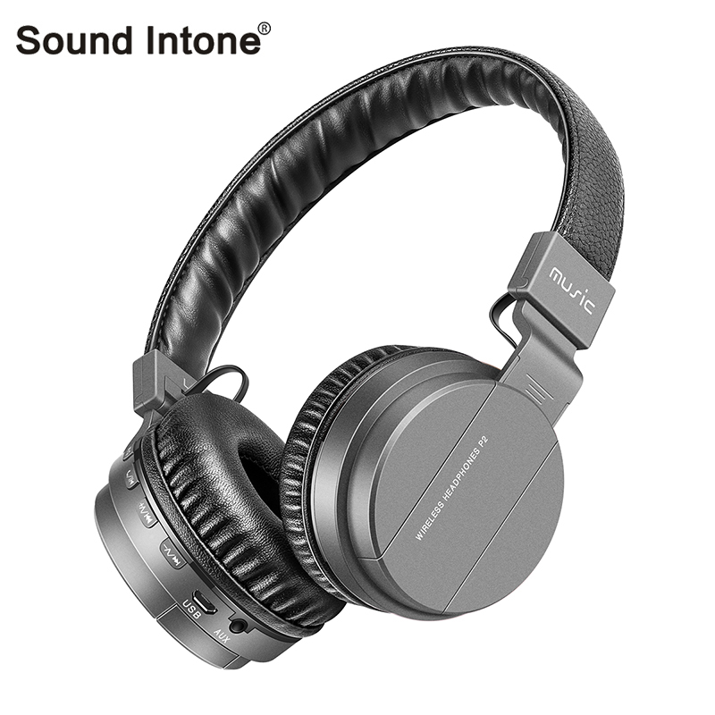 Sound Intone P2+Wireless Bluetooth Headphones With Mic Support TF Card FM Radio Stereo Over Ear Bluetooth Headsets For Phones TV desxz b570 wireless headphones bluetooth handsfree stereo folding over ear with mic lcd fm radio tf slot for iphone phone