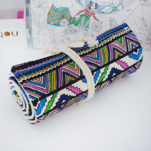 36/48/72 Holes Canvas Wrap Roll Up Stationery Pen Pencil Holder Bag Case Pouch