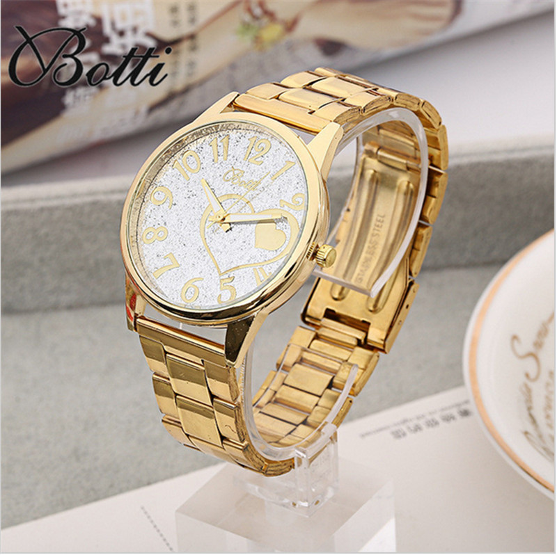 New Heart Gold Watch Women Watches Golden Clock Female Ladies Quartz Watch Wrist Quartz-watch Montre Femme Relogio Feminino Y96