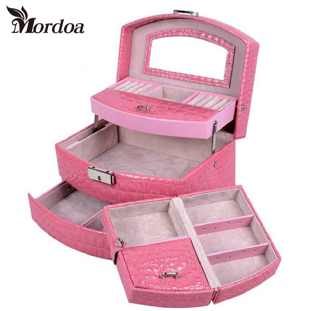 2016 High Grade Jewelry Display Box 3 Layers Ring Necklace Jewelry Carrying Case Crocodile Print Lady Gift Home Storage Supplies