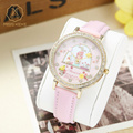 Miss Keke Children 3D Cartoon Watch Girls Clay Flower Pink Leather Quartz Watches Diamond Kids Casual Gold Wristwatch Clock 1060