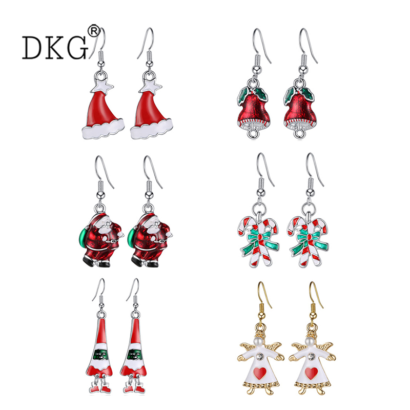 Exquisite Fashion Creative Women Santa Hat Cute Bell Christmas Earrings Gift Earrings for Women Gifts