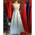Robe De Soirée Elegante Rosa/Rojo/Azul Escarpada Del Cordón Largo Moldeado Vestidos de Noche con el Tren Formal Partido Prom Vestidos de novia VestidoGT50