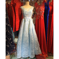 Robe De Soiree Elegant Pink/Red/Blue Sheer Lace Beaded Long Evening Dresses with Train Formal Party Prom Bride Gowns VestidoGT50