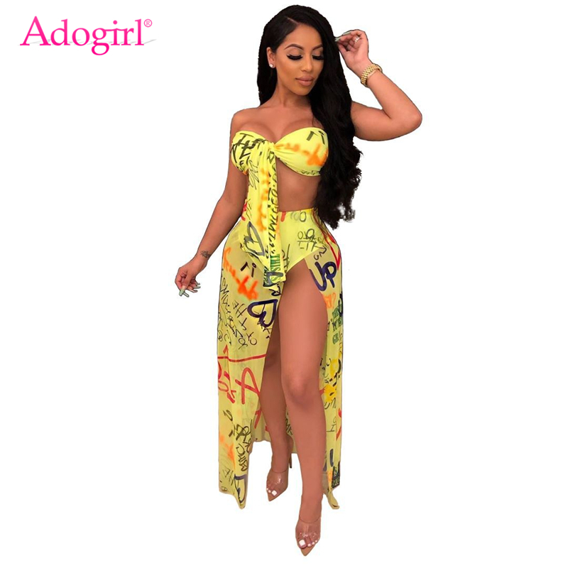 Adogirl Graffiti Letters Print Two Piece Set Women Sexy Club Party Long Dress Tie Strapless Crop High Slit Sheer Mesh Maxi Skirt