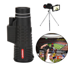 50X60 Zoom Optical HD Lens Monocular Telescope+ Tripod+ Clip For Universal Phone 52 mm big object lens high power magnification