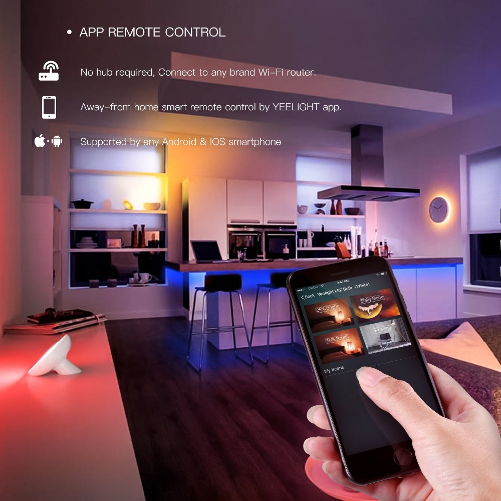 Origine Xiao mi Yeelight LED RGB Feux Intelligents Wifi mi App Télécommande Coloré 60 Led DIY Bande Lampe Pour smart Home Utilisation - 3