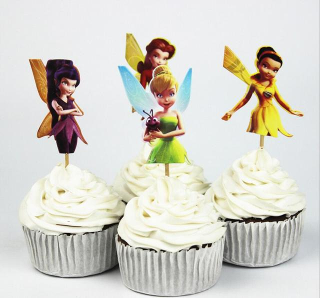24pcs Lot Carton Beautiful Tinkerbell Fairy Cup Cake Topper Pick Kitty Party Girls Kids Birthday Wedding Decoration