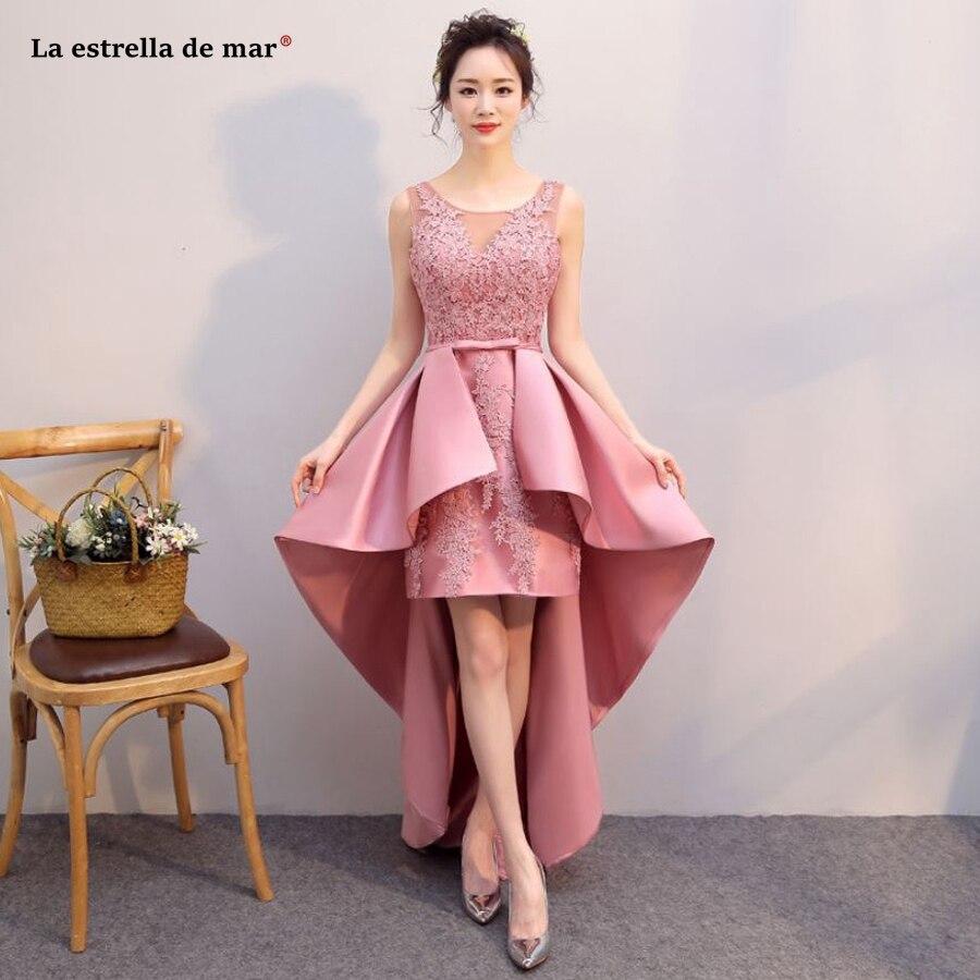 La estrella de mar robe demoiselle d'honneur2019 new Scoop neck lace satin blush pink high low   bridesmaid     dress   Floor Length
