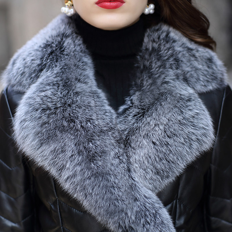 Bas Femme Renard Véritable Luxe Mode Ceinture 3xl Qualité Cuir Collier Fourrure Double Veste Haute Manteaux Breasted Survêtement En Black Vers De Le M Pvn8wPY4x