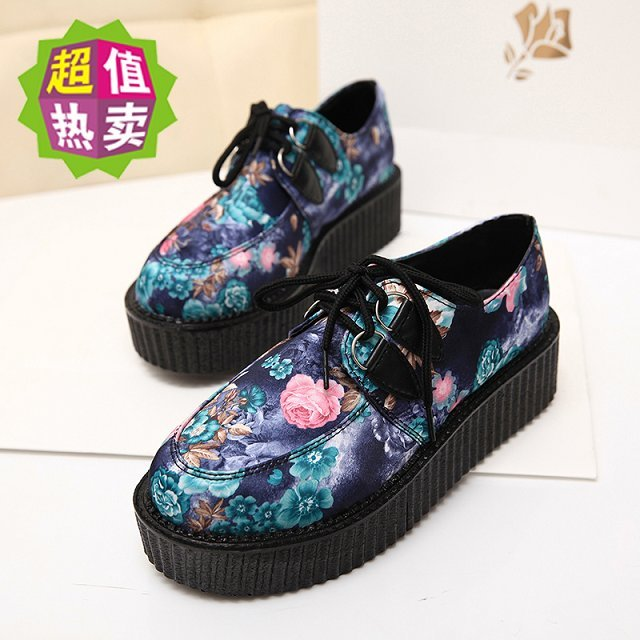 Harajuku Women Wedges Platform Shoes 2015 Casual Flats Lady Suedes Floral Lace-up Creepers Shoe Goth Punk Shoes Mujer Zapatos phyanic 2017 gladiator sandals gold silver shoes woman summer platform wedges glitters creepers casual women shoes phy3323